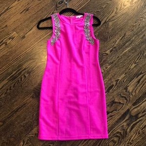 Dresses & Skirts - Beaded Hot Pink Dress
